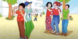 Buchcoverzeigt Konflikt zwischen Kindern am Schulhof